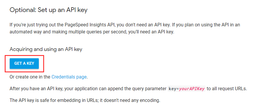 PageSpeed InsightsのAPIキーを取得
