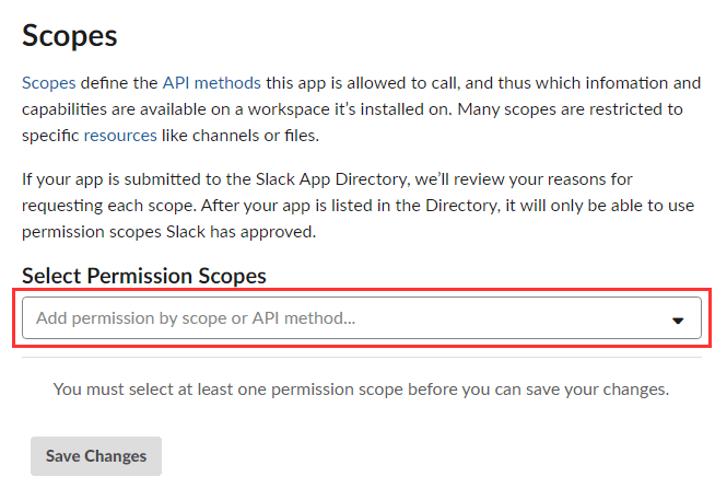 「Permission Scopes」を選択